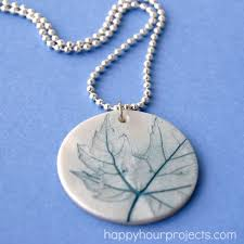 leaf imprint polymer clay pendant at happyhourprojects com