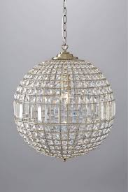 antique brass and crystal glass ball ceiling light chandelier pendant bhs ursula