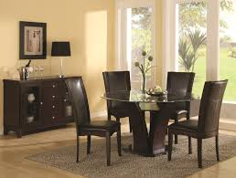 transpa round glass dining tables over slope brown wooden base furniture plus leather chairs fur rug contemporary looks showing chic and awesome design