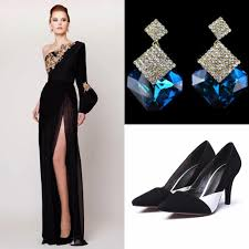 2017 Prom Dresses With Earrings With Shoes Split Side Azzi Osta
