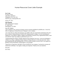 Hr Covering Letter Human Resources Resume Sample Cover Letter