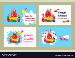 Birthday Business Cards Cake Business Card Royalty Free Vector Image Vectorstock