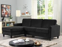 lifestyle solutions fontana sectional sofa with contrast piping and solid wood legs black com