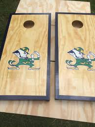 Wooden Bean Bag Toss Game Notre Dame Cornhole Boards Bean Bag Toss by vintagewithflair 78