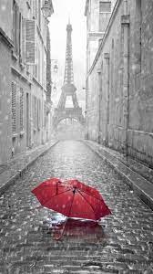 Red Umbrella Paris Street Rainy Day ...