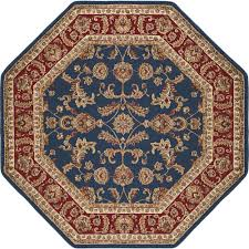 tayse rugs sensation navy blue 8 ft octagon transitional area rug 4797 navy 8 octagon the home depot