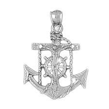 sterling silver mariners cross crucifix pendant rhodium yellow or rose gold plated