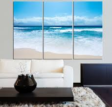 Large Wall Art Ocean Beach and Wave Canvas Print - Seascape Scenery 3 Panel  Canvas Art For Wall Decor