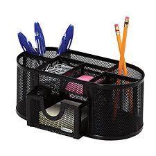 office pen holder. Desk Organizer 8 Compartments Metal Black Mesh Desktop Office Pen Pencil Holder