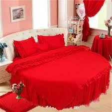 superking size red round bed bedding