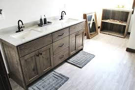 custom gray stained vanity cabinet