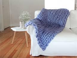 giant chunky knit blanket throw in lilac small australian merino wool twist by eve madeit com au