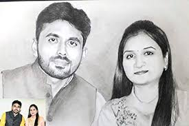 Pencil Sketches Of Couples My Magic Gift Pencil Sketch Couple A4