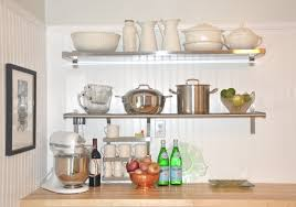 stainless stell open shelving varnished contemporary chrome stock pot with lid wine glass wooden laminate backsplash wall mount rack cup mug stop contact