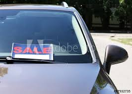 For Sale Sign On Car For Sale Sign On Windshield Of Car Buy This Stock Photo And