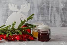 Decorated Jam Jars For Christmas Christmas Jam Jar With Festive Decoration On White Wooden 73