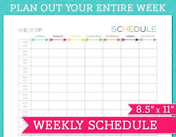 Green Brushstrokes Weekly Schedule Planner Xls Template 2017 Pdf