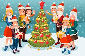 Family At Christmas Snow Night Illustration