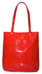 tory burch red patent leather tote bag