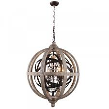orlando globe chandelier wood metal crystal pendant lamp receiling lights
