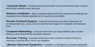 Computer Repair Technician Job Description Printable Resume Templates