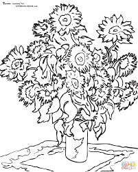 Small Picture Sunflowers By Vincent Van Gogh coloring page Free Printable