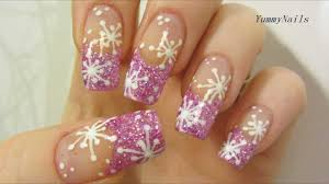 Pink Icy Snowflake Design with Holographic Glitter Nail Art ...
