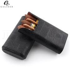 galiner gadgets cedar wood humidor leather cigar travel case portable 3 s holder cigar humidor box for cohiba cigars