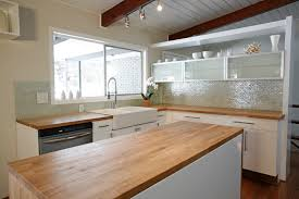 mid century modern kitchen white. Mid Century Modern Kitchen Simple And Minimalist Decoration Idea With L Shape White Island Long Table Brown Hardwood Countertop Y