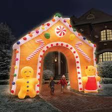 Gingerbread Outdoor Lights The 15 Foot Illuminated Gingerbread House Hammacher Schlemmer