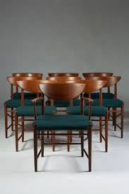 hvidt peter set of dining chairs designed by peter hvidt and orla möllgaard nielsen for söborg möbler denmark teak and wool upholstery