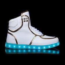 kids flash led light up dance shoes high tops white