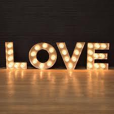 Wedding Love Lights Love Light Up Fairground Bulb Sign Light Bulb Letters