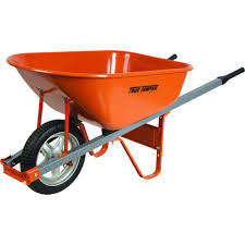 wheelbarrow with steel handles and flat free tire