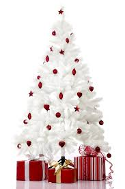 Decorating Christmas Trees White with red ornaments.