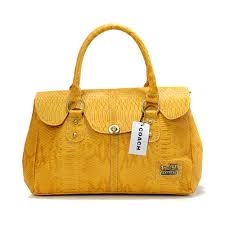 Coach Embossed Lock Medium Yellow Satchels DEC