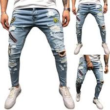 2019 New Ripped Jeans For Men Slim Hole Frayed ... - Vova