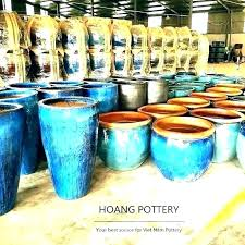 glazed ceramic pots garden pot large planters tall big round outdoor for blue and