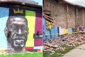 George Floyd mural collapses, witnesses ...