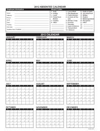Absentee Calendar Editable Calendar Planner Template Fill Out Best Forms Download