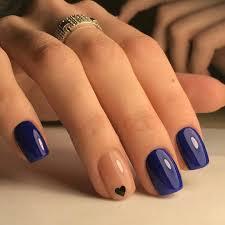 Beautiful Navy Blue nails with tiny Heart shape. pink nail polish ...