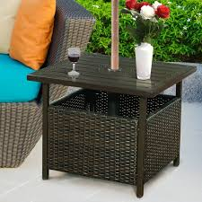 square rattan patio table with parasol