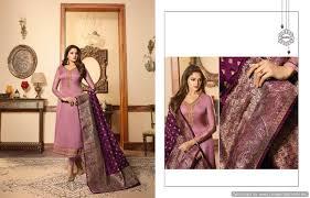 Buy Designer Salwar Suits Banarasi Dupatta Purple Color