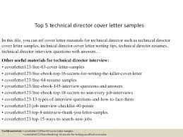 Director Cover Letter Top 5 Technical Director Cover Letter Samples