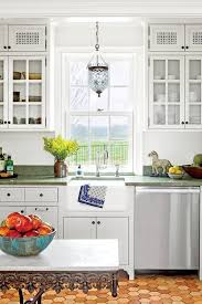 cottage kitchen design. Classic White Kitchen With Green Countertops Cottage Design