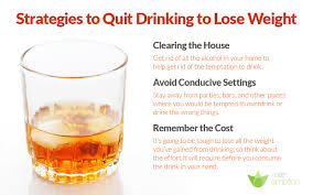 an image of a gl of alcohol with suggestions to quit drinking the le
