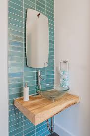 glass vessel sinks powder room contemporary with accent tile wall floating countertop glass vessel