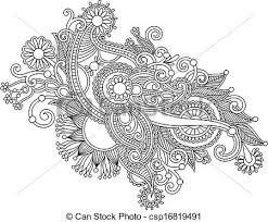 ドロー 花 芸術 手 黒 華やか デザイン 線 白