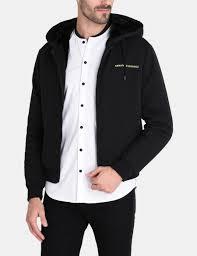 armani exchange faux fur lined zip up hoo fleece jacket for men a x