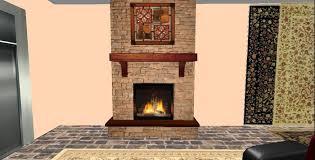7 Prim Floor to Ceiling River Rock Fireplace with Wood Wall Art, Animated  Flame,